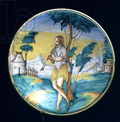 Maiolica plate depicting a shepherd playing a flute, Italian, 16th or 17th century (ceramic)