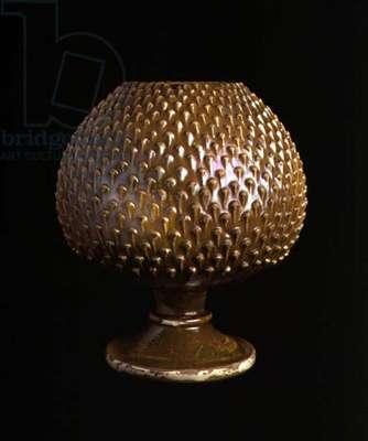 Maiolica vase in the shape of a pine-cone, Italian (ceramic)