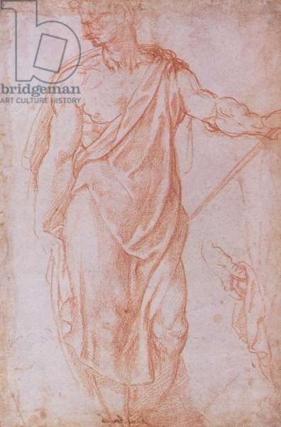 Sketch of a man holding a staff and a study of a hand (red chalk on paper)
