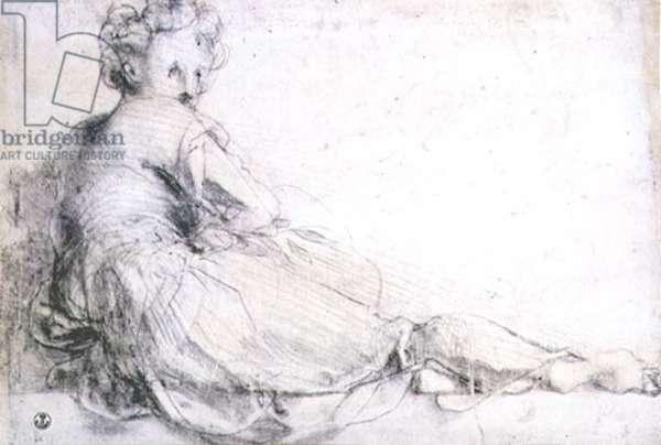 Study of a female figure for the Villa Medici at Poggio a Caino (charcoal)