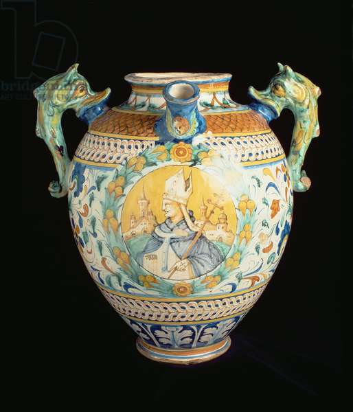 Maiolica pharmaceutical jar decorated with stylised floral designs and roundels, one showing a pope, with two dolphin-shaped handles, Italian, made in Florence, 16th century