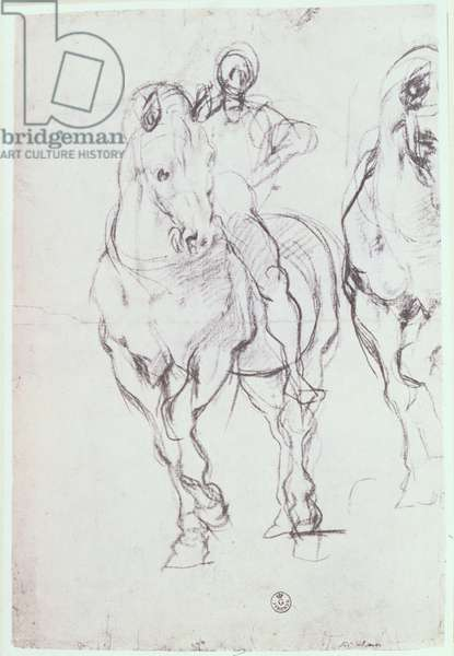 Study of a horseman for 'The Israelites Quenching Their Thirst in the Desert' (chalk)