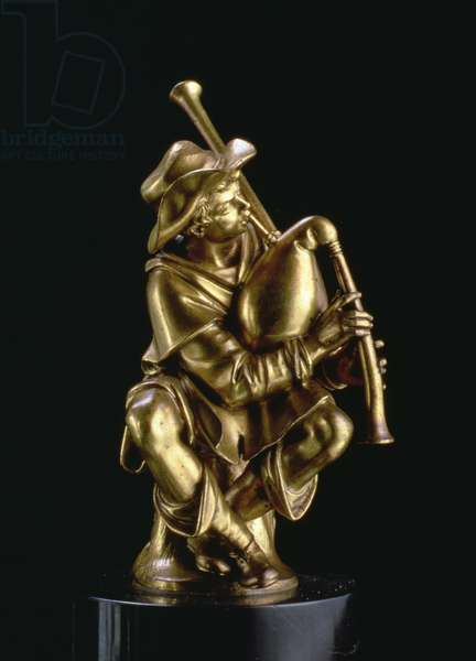 Street Musician Playing the Bagpipes (gilt bronze)