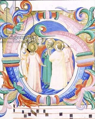 Missal 558 f.41v Historiated initial 'G' depicting the Pentecost