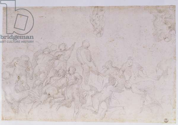 Preparatory sketch for the 'Battle of the Cascina' and two additional sketches (charcoal on paper) (see also 18057 & 49880)