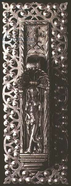 Door knocker, the lever in the form of a female figure standing in a niche, the plate decorated with a stylised floral border; heurtoir; porte; femme;