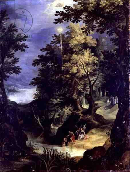 Landscape Depicting the Baptism of Christ and the Baptism Sermon (oil on panel)
