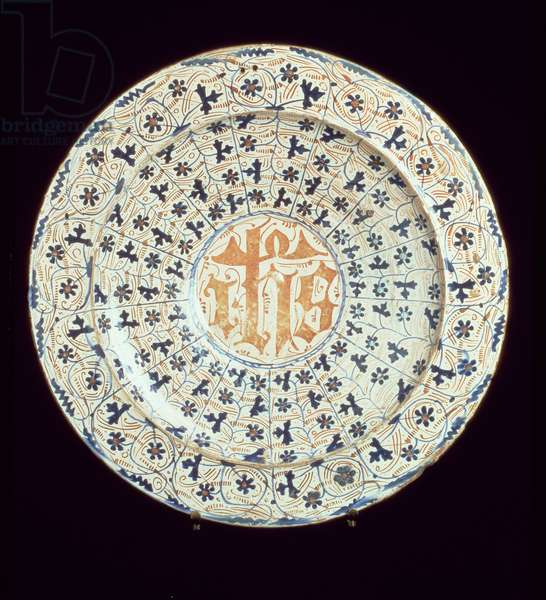 Maiolica plate decorated with a stylised floral pattern surrounding a central area of Arabic script, Italian, 16th or 17th century (ceramic)