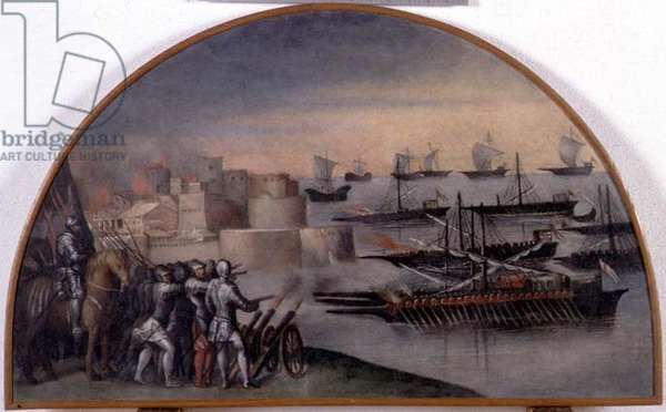 Lunette of a naval attack on a port