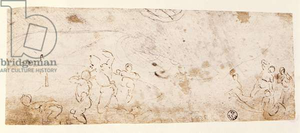 Sistine Chapel Ceiling (1508-12): sketch of figures for 'The Flood' (pen and brown ink)