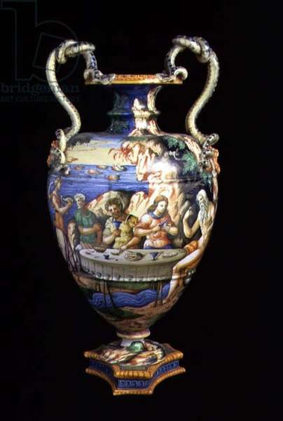 Maiolica urn with two handles in the shape of serpents, the body decorated with an al fresco banquet scene made by the workshop of Orazio Fontana of Urbino, mid 16th century