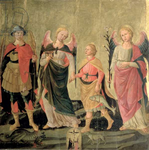 The Three Archangels and Tobias (tempera on panel)