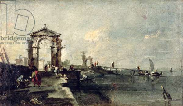 Capriccio with an Arch and Landing Stage, c.1750 (oil on canvas)