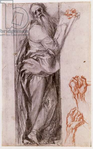 Study of St. John the Evangelist and two studies of fists (black and red chalk)