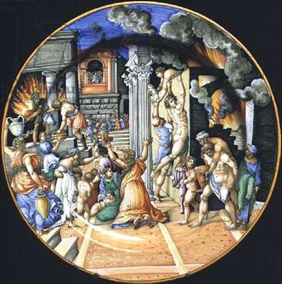 Maiolica plate depicting the burning of Troy with Aeneas carrying his father Anchises on his back with his son Ascanius at his side, Italian, 16th century (ceramic)