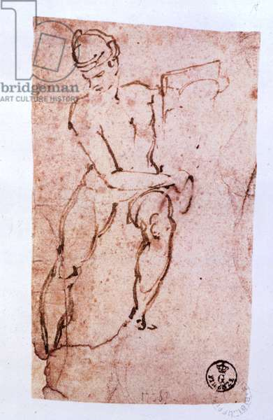 Sistine Chapel Ceiling (1508-12): sketch of an apostle (pen and brown ink)