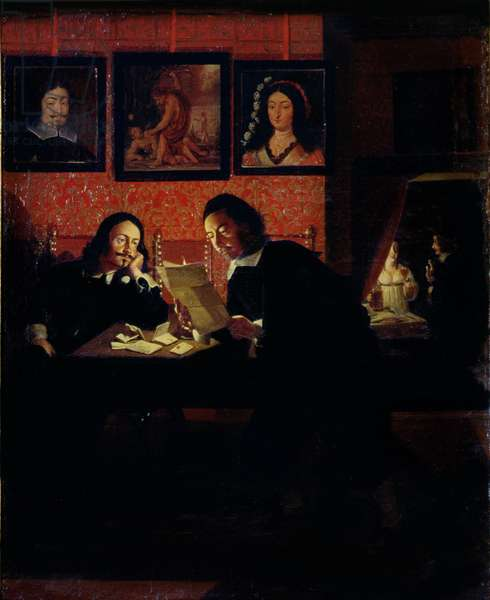 Two Men in a Studio (oil on canvas)