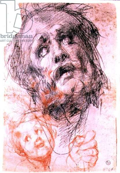 Study of the head of St. Joseph, the head of a child and a fist for the 'Holy Family with Saints' (Pucci altarpiece), c.1518 (black and red chalk)
