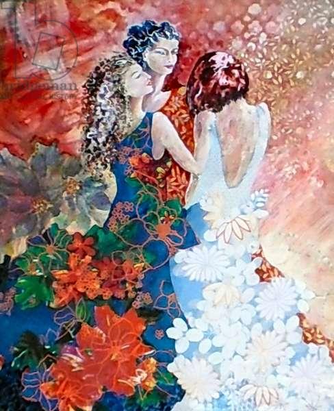 Ladies in floral dresses