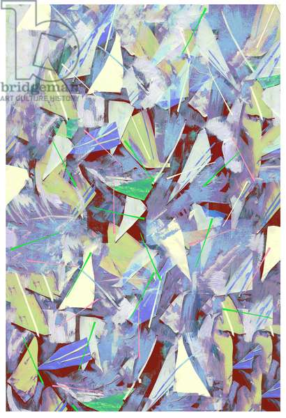 Shards, Splinters and Pine Needles; 2017, Mixed Media on Wood Panel)