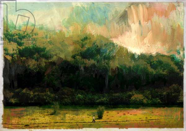 Oakridge Woods 2015, (Mixed Media on Wood Panel)