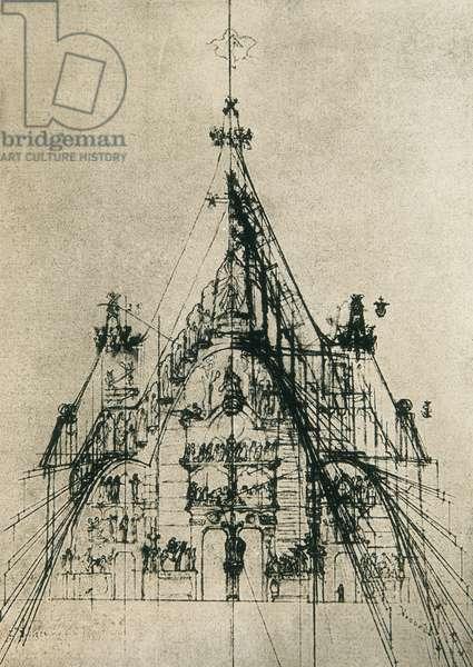 Design for the Fachada del Nacimiento of the Templo de la Sagrada Familia (pen & ink on paper)