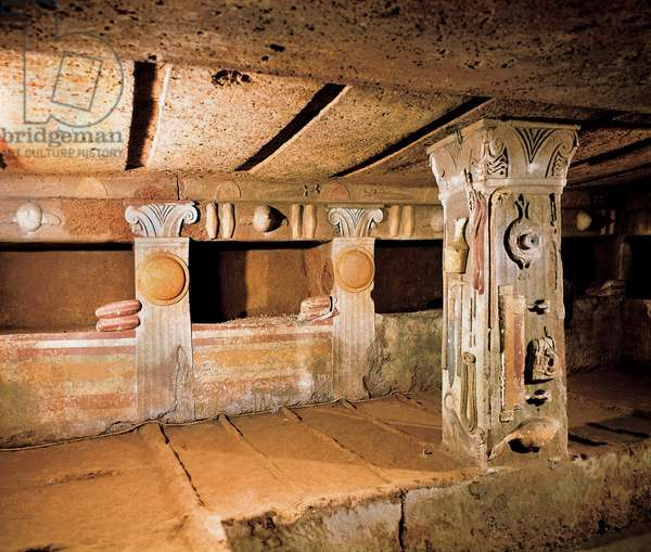 Etruscan architecture: tomb of reliefs. 4th-3rd century BC. Cerveteri. Necropolis of Banditaccia. Italy (photo)