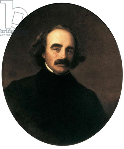 Portrait of the American Writer Nathaniel Hawthorne (1804-1864) Painting by Emanuel Gottlieb Leutze (1816-1868), 1862