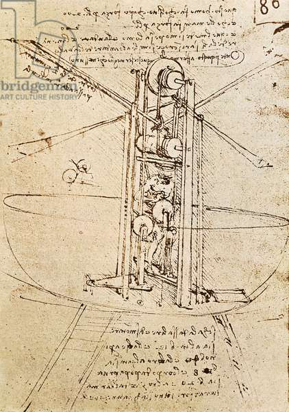 Vertically Standing Bird's-winged Flying Machine, fol. 80r from Paris Manuscript B, 1488-90 (pen and ink on paper)