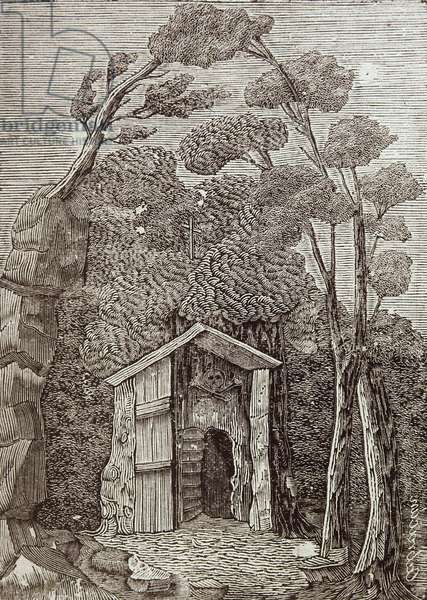 Illustration of the disappeared Hermitage of the Alcornoque de Batuecas in the Sierra de Francia, Salamanca (engraving)