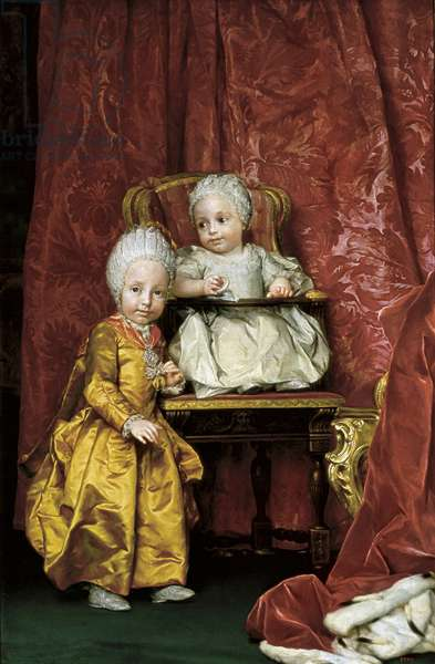 Portrait of Archduke Ferdinand and Archduchess Maria Carolina of Austria, c.1756 (oil on canvas)