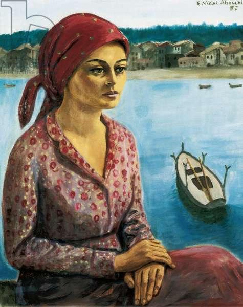 Fisherwoman, 1977 (oil on canvas)