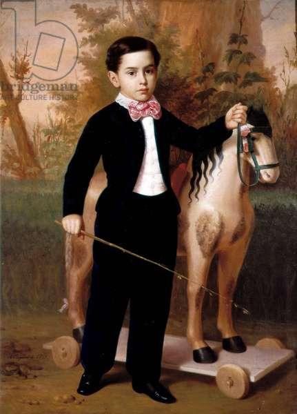Portrait of a Boy with a Horse, 1851 (oil on canvas)
