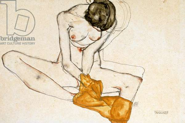 Female Nude, 1901-1918 (watercolour and pencil on paper)