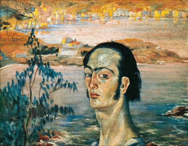 Self Portrait with the Neck of Raphael, 1920-21 (oil on canvas)