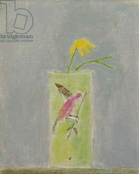 Still life Glass and Yellow Flower, Montecasateli, 2002 (oil on canvas)