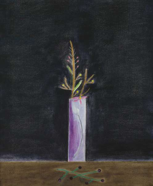 Still Life, Blue Vase and Mimosa, 2001 (oil on canvas)