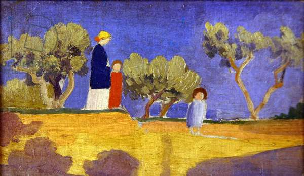 Landscape with Three Figures (oil on canvas)