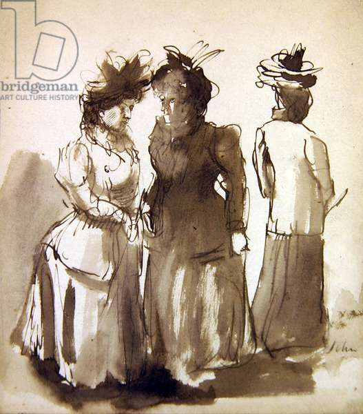 Three women, c.1901 (pen & wash on paper)
