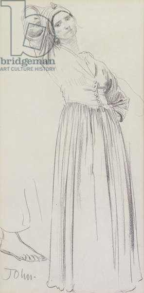 Dorelia standing (pencil on paper)