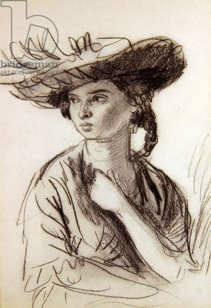 Dorelia in a large hat, c.1905 (charcoal on paper)