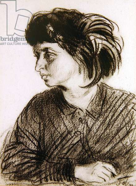 Dorelia in a feathered toque, c.1904 (charcoal on paper)