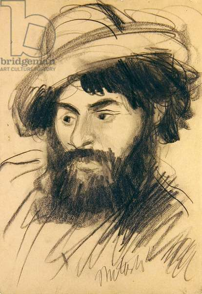 Self Portrait with Hat (black chalk on paper)