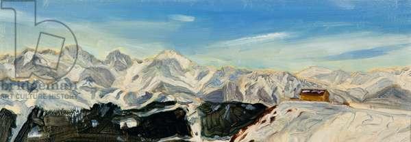 Verbier oil study, 2014 (oil on canvas)