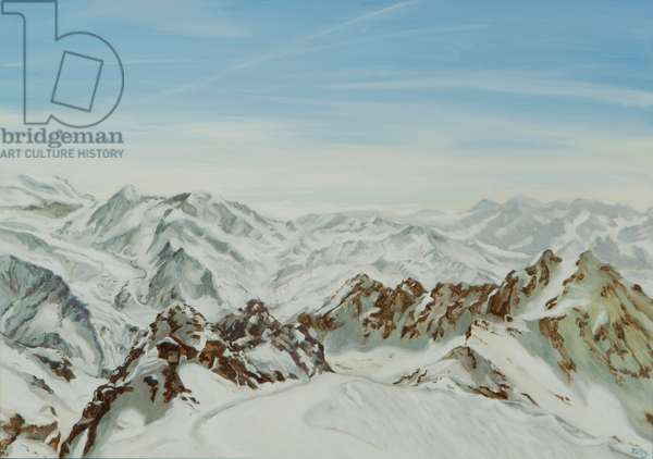View from Mont Fort, Verbier, 2014 9oil on canvas)