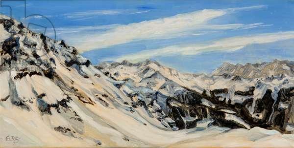 Verbier oil study 2, 2014 (oil on canvas)