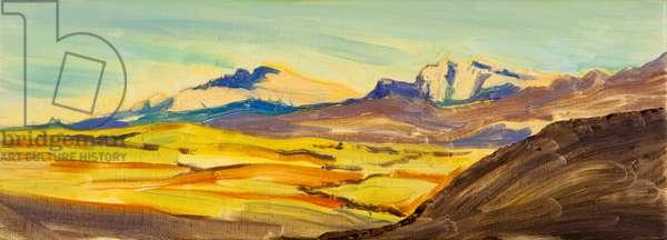 Skye landscape, Quaraing study,  2016, (oil on canvas)