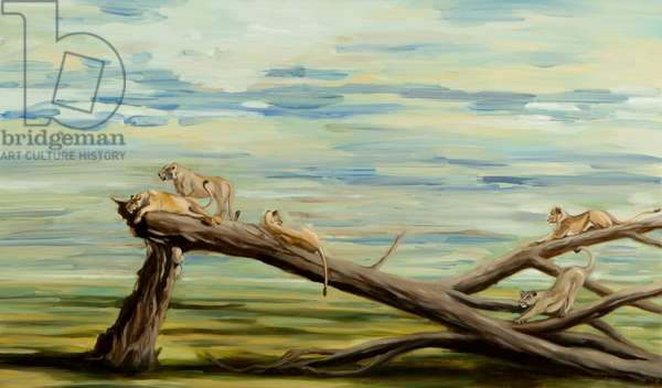 lions on tree, 2014, (oil on canvas)