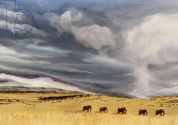 Elephant bulls at Lewa, 2014 (oil on canvas)