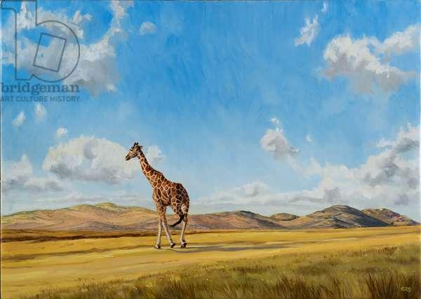 Giraffe walking towards Borana, oil on canvas 2019
